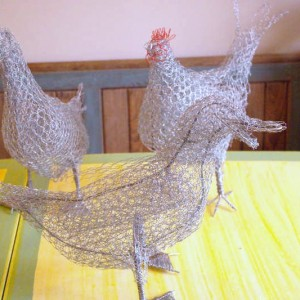 Chicken Wire Sculpture - Hens + Ducks - Moved from 2020