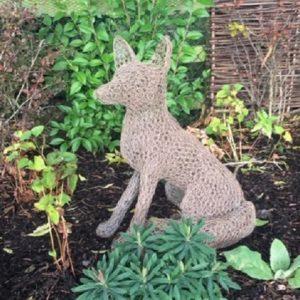 Chicken Wire Sculpture - Sitting Fox