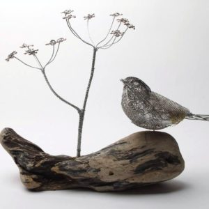 Wire Sculpture: Small Songbirds with Flowers